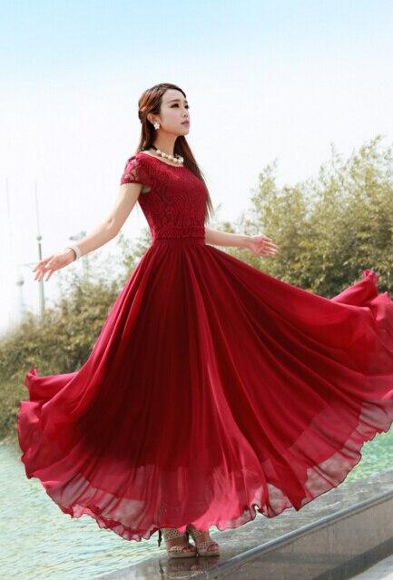 5deabbc358fbb Free Shipping Elegant Hot Sale Plus Size S-XXL Bohemian Style Short Sleeve  Lace Chiffon