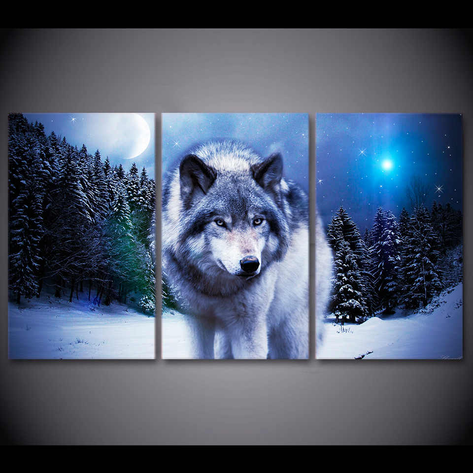 Wholesale Animal series Canvas Painting Framed Wolf painting Wall Picture For Living Room 3Pcs Canvas art/11Y-ZT-43