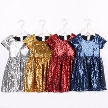 Małe dziewczynki błyszcząca sukienka dla dzieci cekinowa błyszcząca jednolita, różowa srebrna złota kwiatowa sukienka dla dziewczynek z krótkim rękawem sukienka na konkurs piękności