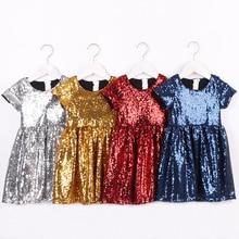 Toddler Girls Glitter Dress Kids Sequin Sparkle Solid Pink Silver Gold Flower Girls Dress  for Girls Short Sleeve Pageant Dress