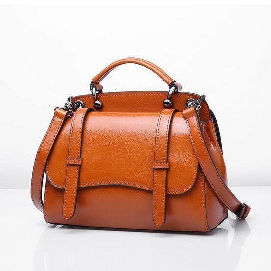 Genuine Leather Women Shoulder bag Vintage Oil Wax Leather Double Flap Motorcycle  Bags Ladies Cross body Bag Bolsas Feminina 3d074f88d71a0
