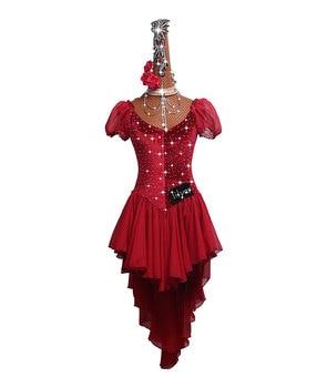 DHL Free Shipping Sexy Latin Dance Dress For Ladies Glisten Rhinestones Fringe Salsa Dresses Women Ballroom Tutu Tassel Dresses