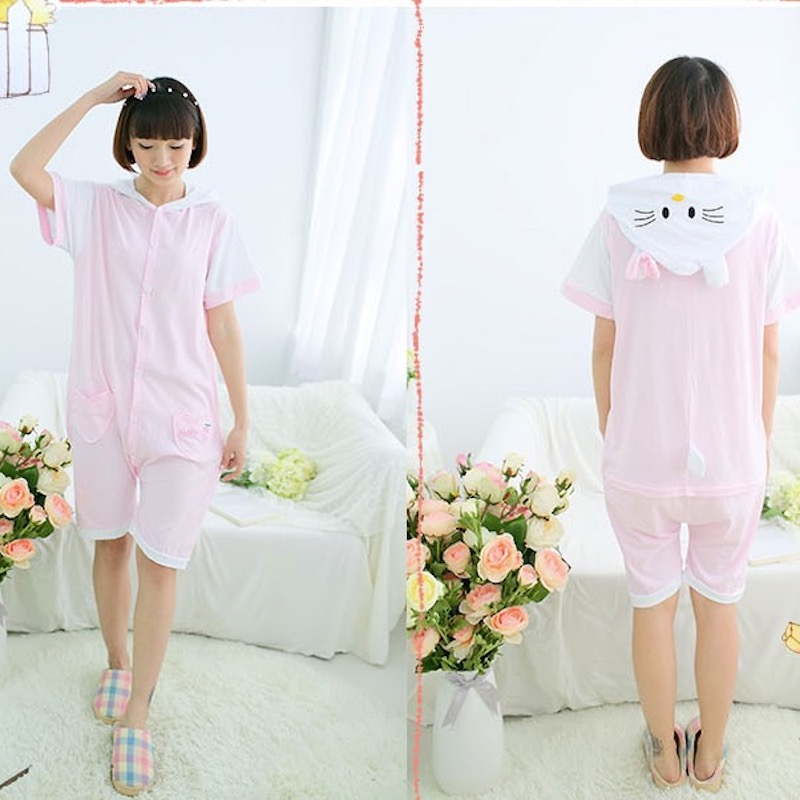 Cute Hello Kitty Adult Short Sleeve Animal Pajamas Summer Unisex Cat Cosplay Pijamas Cartoon Cotton Onesies men women Pajama