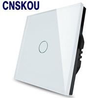 Cnskou EU Standard 1 Gang 1 Way AC110V 220V Touch Switch Black Switch Crystal Glass Panel