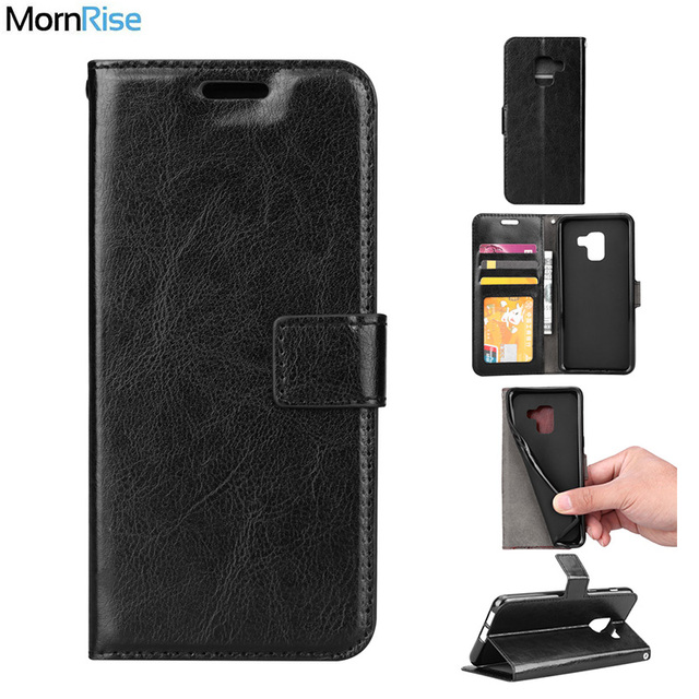 newest 7956f 201b3 US $3.82 15% OFF|Premium Vintage Leather Book Flip Cover For Samsung Galaxy  A8 A8 Plus 2018 Case Wallet KickStand Card Photo Handmade Phone Bags-in ...