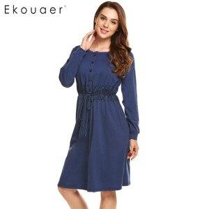 Image 4 - Ekouaer Women Vintage Sleep Dress Women Sleepwear Long Sleeve Lace Patchwork Button Down Sleepshirt Nightgown Sleep Lounge Dress