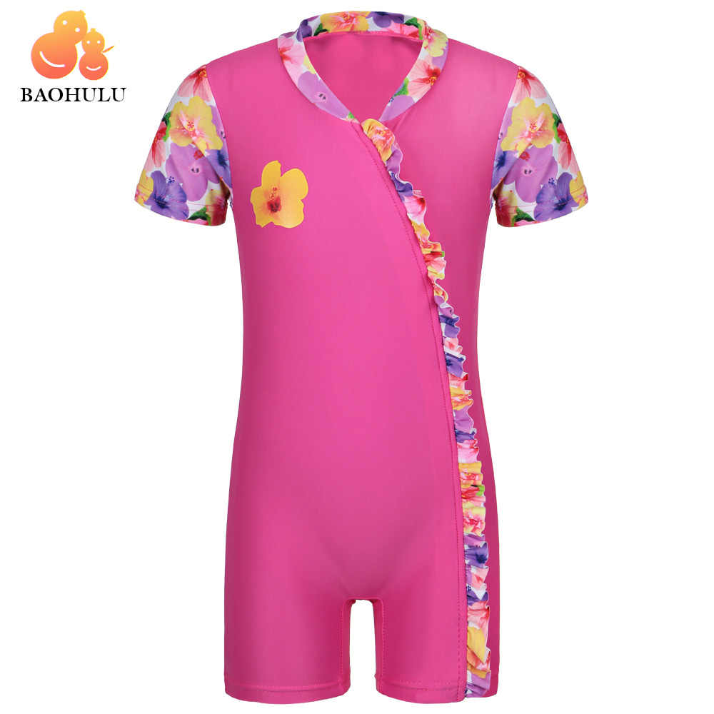 BAOHULU GRILS 4-arah Stretch Kain UPF 50 + UV Pelindung Penjaga Ruam Lengan Pendek Baju Renang Pakaian Renang Sunblock Mandi anak Setelan