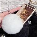 Corda de Metal ouro Espelho telefone Contracapa Capa branca bola de pêlo pompom Para huawei p8/p8lite p8mini/p9/p9 p9plus lite caso de volta