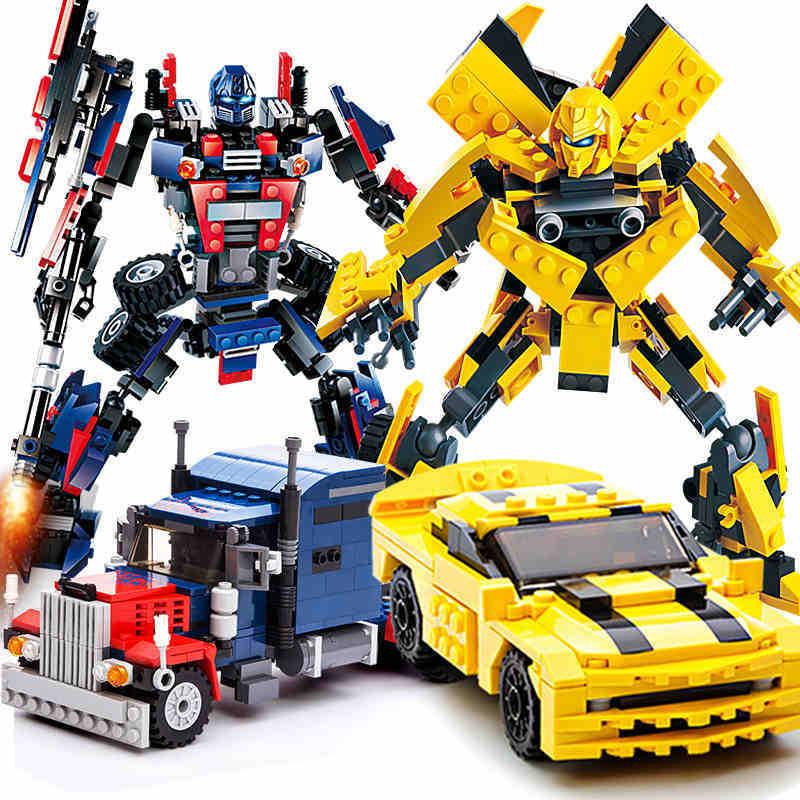 Transformation Robot Serie Building Blocks Toys Set Car Truck Model Deformation Optimus Prime compatible