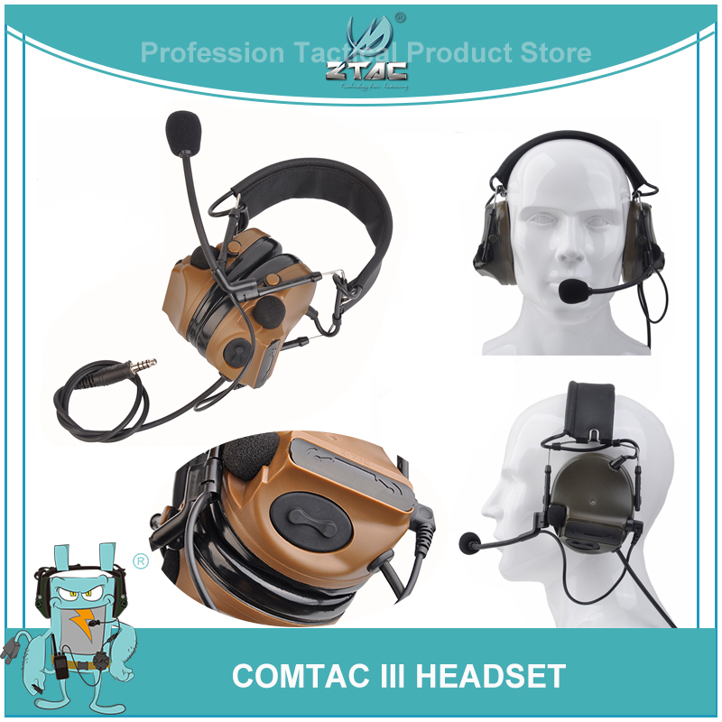 Z Tac Airsoftsports Tactical Aviation Peltor Comtac III Military Headset Noise Canceling Active Softair Headphones Fit