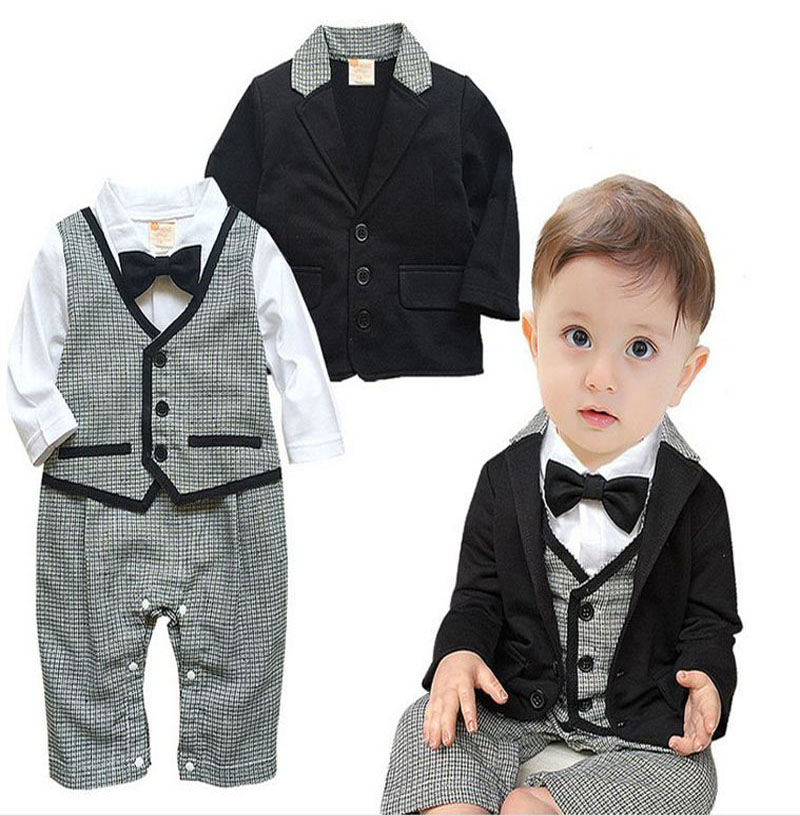 e208890ab newborn baby boy Long sleeve bow tie romper clothes+black Jackets suit  Clothing Sets bebe toddler Birthday party clothing DY087C-in Clothing Sets  from ...