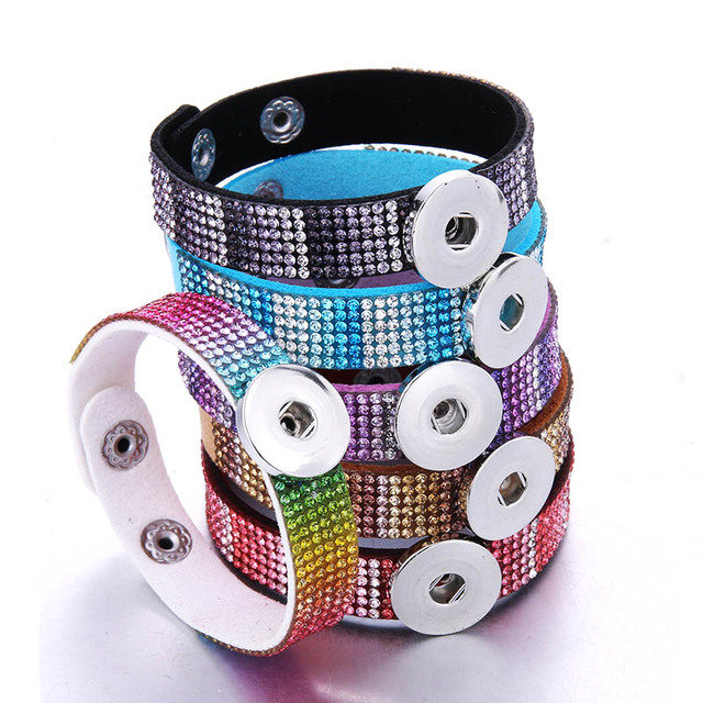 New Rhinestone Snap Button Jewelry Leather 18mm Snap Button Bracelet Punk Leather Bracelet Armband Snaps Jewelry 2391