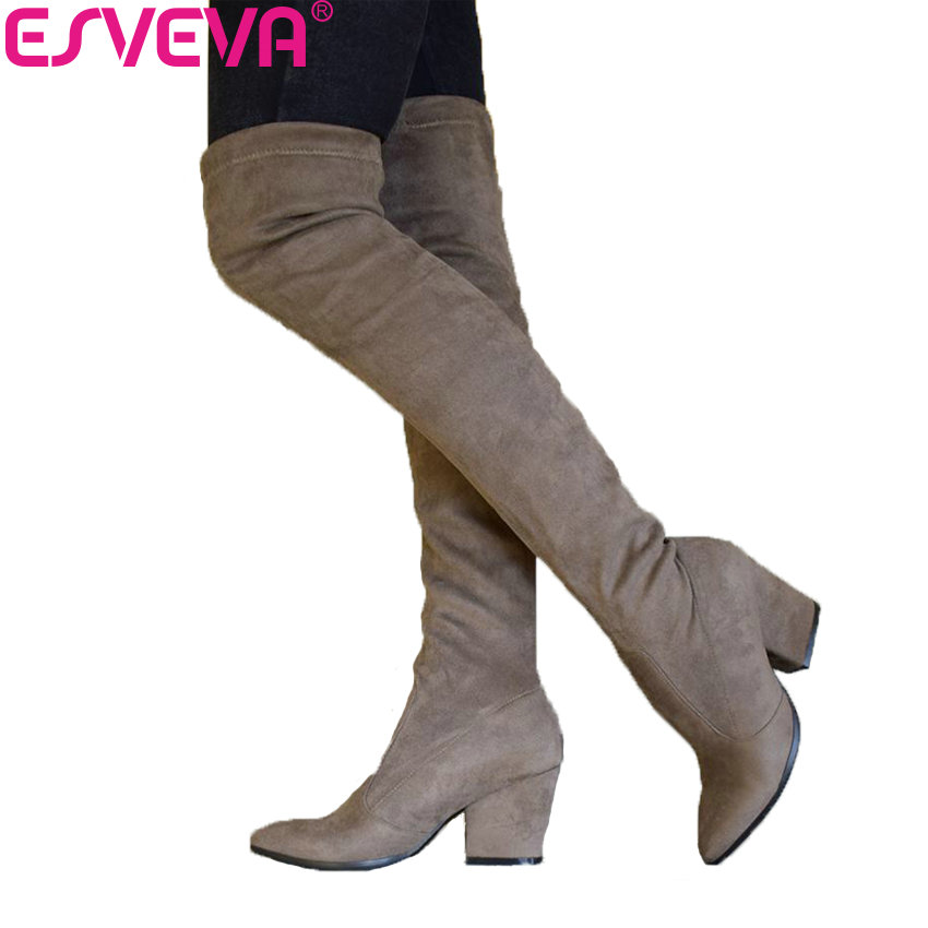ESVEVA 2019 Women Boots Spring Autumn Over The Knee Boots Stretch Fabrics Sexy Pointed Toe Fashion High Heels Shoes Size 34-43 allbitefo fashion sexy high heels stretch fabric over the knee boots brand pointed toe high heel shoes women boots size 33 43