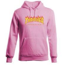 pull Trasher Hoodie Men Streetwear Tracksuit Moletom Skate Sudaderas Mens Hoodies Sweatshirt Skateboard Pink Thrasher Hoodies