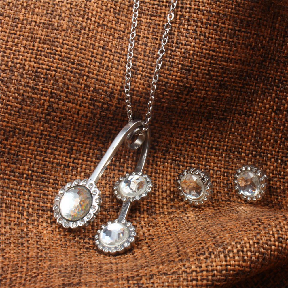 XUANHUA Stainless Steel Jewelry Sets Jewellery Indian Wedding Fashion For Women 2018 Rhinestone Necklace Earrings Set Schmuck