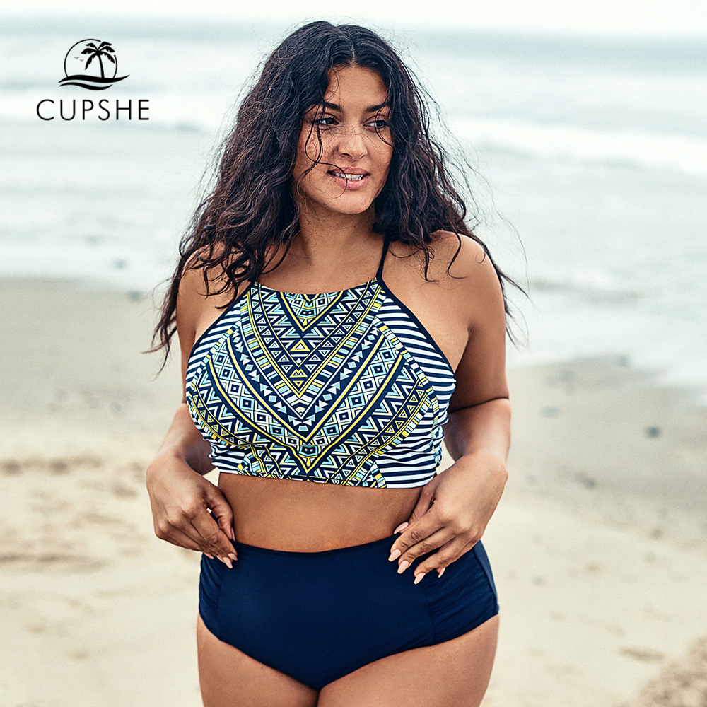 CUPSHE Plus Size Tank Top Lace Up Bikini Sets Women Geo Halter Two Pieces Swimsuits 2019 Girl Beach Bathing Suits Swimwear