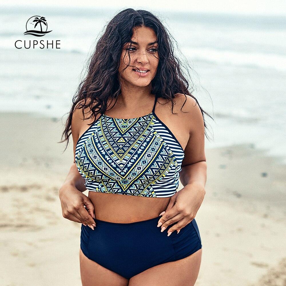 CUPSHE Plus Size Tank Top Lace Up Bikini Sets Women Geo Halter Two Pieces Swimsuits 2020 Girl Beach Bathing Suits Swimwear