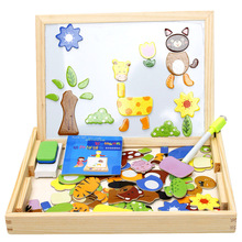 Wooden puzzle Imitation Animals fight spells double sided magnetic drawing board children puzzle toys
