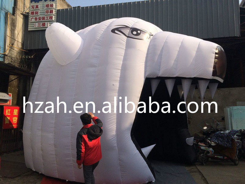 Giant White Inflatable Bear Tunnel Tent For The Games Decoration