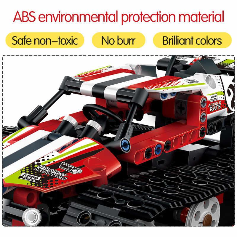 Teknik RC Melacak Pembalap Mobil Listrik Motor Listrik Fungsi Kompatibel Teknik Kota Bangunan Blok Batu Bata Model Anak Laki-laki Mainan