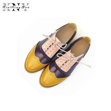 Vintage British Style Oxford Shoes For women 100% Genuine leather flat shoes women US size13 handmade Black Patent leather Shoe