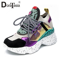 DoraTasia 2019 New Summer 35 42 Genuine Leather Suede Sneakers Women Horsehair Platform Dad Shoes Casual Flat Women Shoes Woman