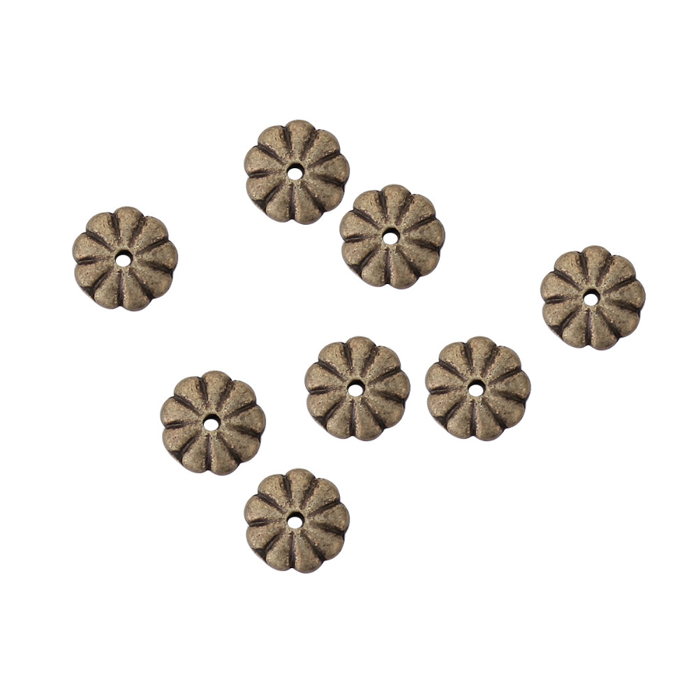 DoreenBeads Zinc Based Alloy Antique Bronze Spacer Beads Daisy Flower DIY Components 9mm x 9mm, Hole: Approx 1.2mm, 100 PCs