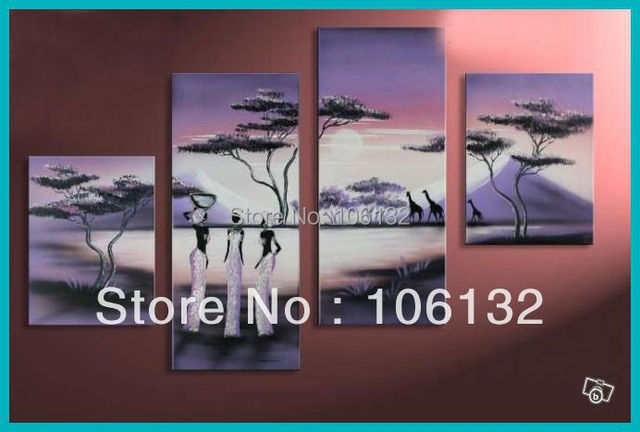 Framed 4 Panel Large High End Stunning Sunset Wall Art African Paintings  Sale Canvas Picture Home