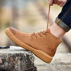 Botas de inverno dos homens sapatos de couro genuíno com pele botas de tornozelo masculino outono moda motocicleta bota calçados rendas até 45 46 47