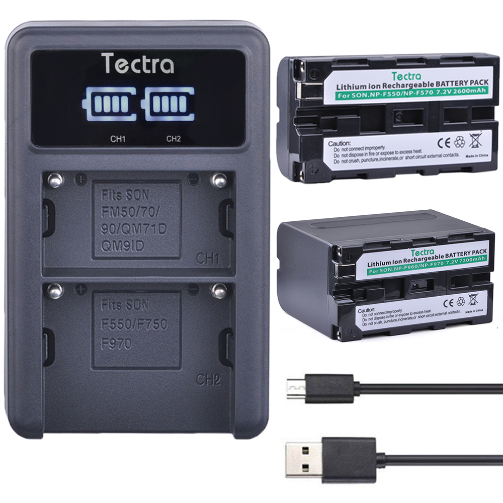 Tectra NP-F960/F970 NPF970 NP-F550 NP F550 Li-ion Camera bateria + LED Display Universal USB Dual Charger for Sony Video Cameras np f960 f970 6600mah battery for np f930 f950 f330 f550 f570 f750 f770 sony camera