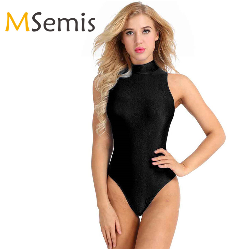 Women Ballet Leotard Gymnastic Swimsuits Adult One-piece Round Neck Stretch Ballet Dance Leotard Women Bodysuit Bathing Suits