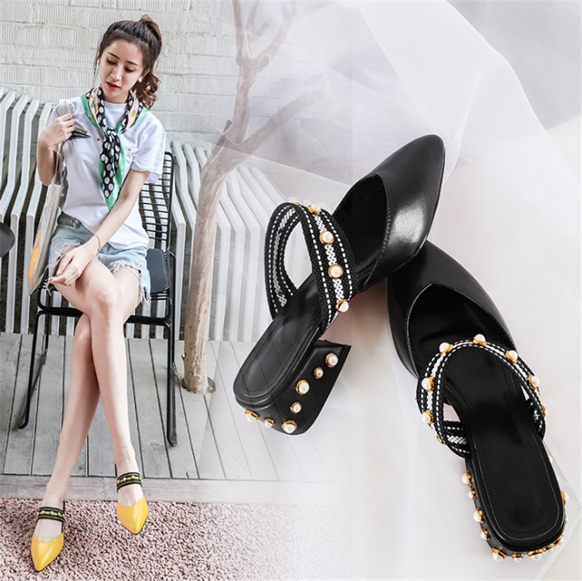 ZOUDKY 2018 summer sharp pointed real leather coarse Hong Kong flavor rivet women's shoes eric chou hong kong