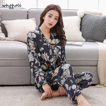 Whoholl Pajamas For Women Satin Sets Long Sleeves Turn-down Collar Pocket Decor Top+Pants Silk