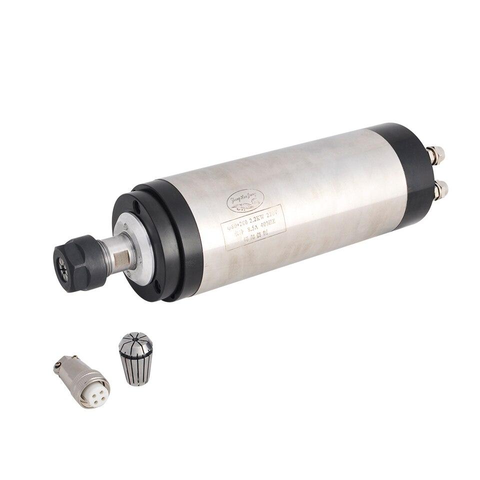 Cnc Spindel 2.2KW 220V Watergekoelde Spindel Router + 2.2kw Converter Omvormer 80 Mm Klem 75 W Waterpomp 5M Pijp 13 Pcs ER20 Collet - 3