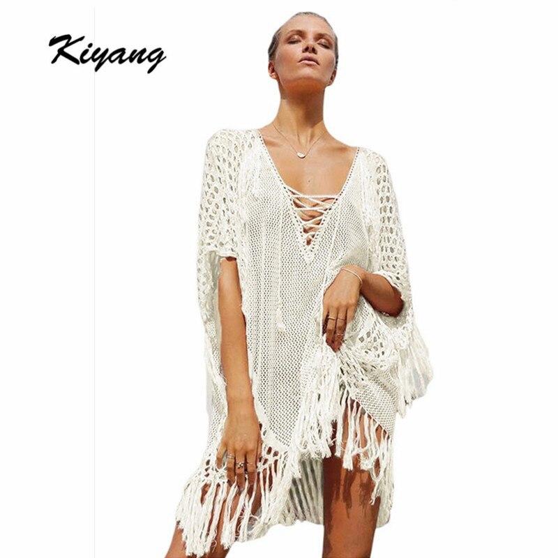 Kiyang الأبيض قفطان سترة الشاطئ قفطان - ملابس نسائية