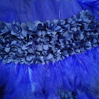 1 yard royal blue 3D fabric with 3D flowers and 3D feather trim, bridal wedding decoration costumes accessories