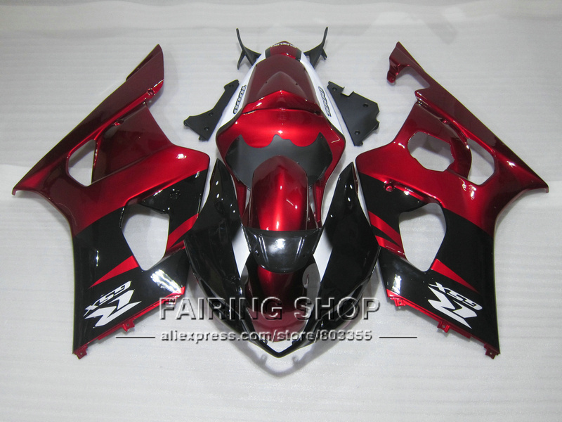 Lowest price injection mold fairing kit for Suzuki GSXR1000 03 04 K3 K4 wine red black fairings set GSXR 1000 2003 2004 WT44 100% fit for suzuki injection molding gsxr1000 fairing kit k3 k4 2003 2004 brown black fairings set gsxr 1000 03 04 ap34