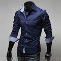 2016 новый конструктор slim fit мужская повседневная рубашка мода с длинным рукавом классические рубашки мужчин размер 3xl мужской рубашки сорочка homme