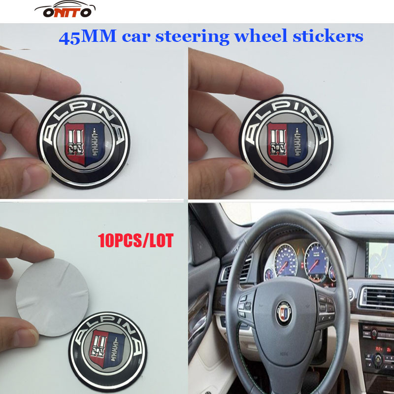 Auto Steering Wheel Stickers 10Pcs/lot 45mm For Bmw E60 E90 F10 F30 F15 E63 E64 E65 E86 E89 E85 E91 E92 Car Steer Wheel Emblem