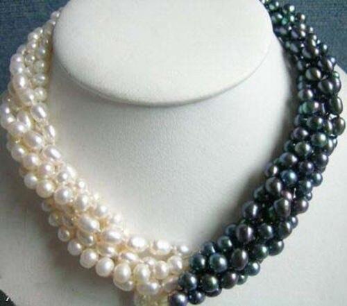 Nouveauté 5 rangées 7-8mm blanc et noir perle collier chaîne 18 pouces femmes fille mode bijoux conception faire prix de gros