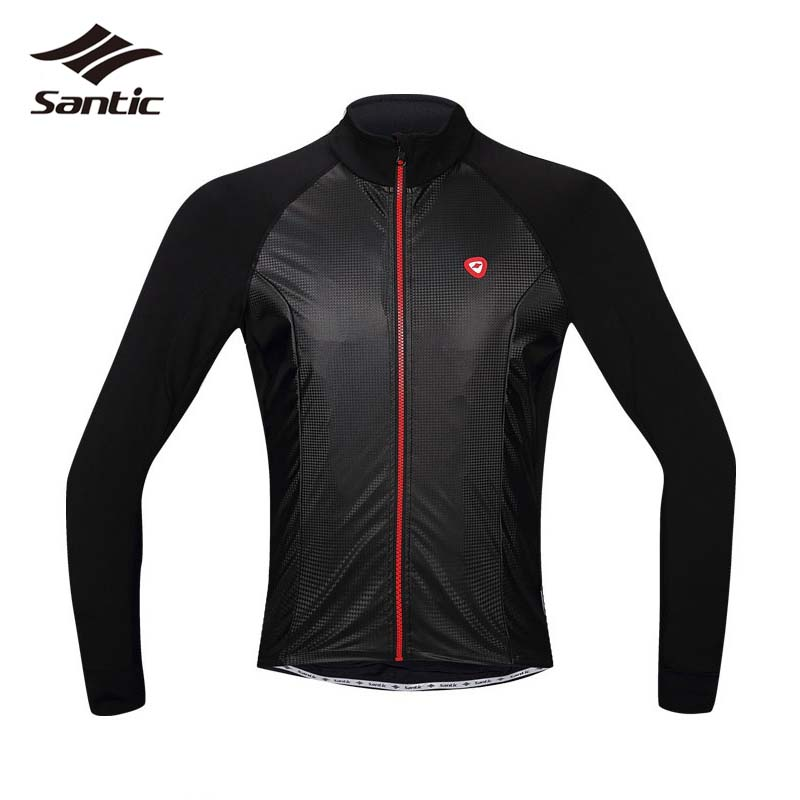 NEW Santic Cycling Jerseys Men Long Sleeve Breathable Black Warm Coat MTB Bicycle Tops Bike Skinsuit Ropa Ciclismo Hombre 2017 2016 new men s cycling jerseys top sleeve blue and white waves bicycle shirt white bike top breathable cycling top ilpaladin