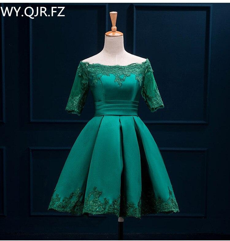 HJZY110L The new deep green plus size prom party dress bride toast suit Off Shoulder short