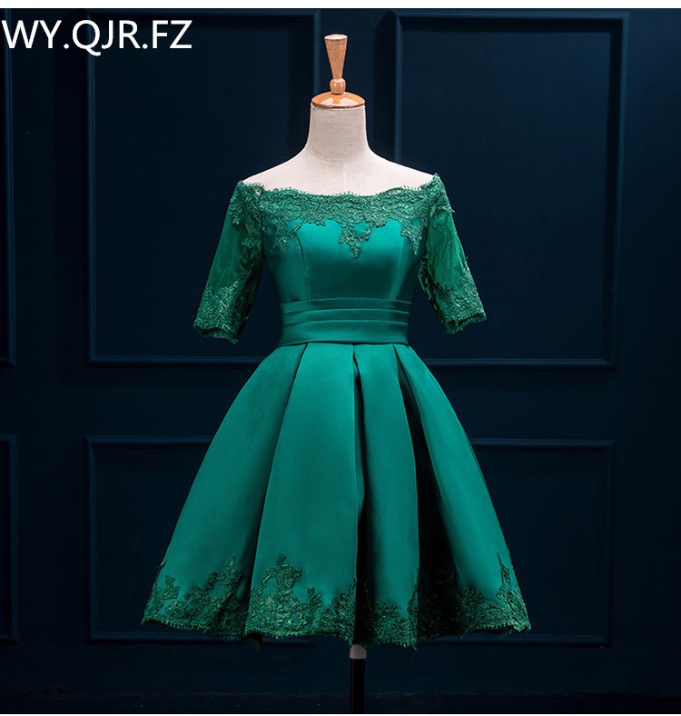 HJZY110L#The New Deep Green Plus Size Prom Party Dress Bride Toast Suit Off Shoulder Short Bridesmaid Dresses 2019 Wholesale