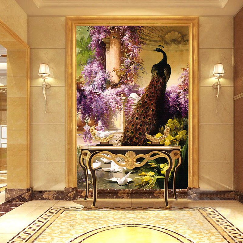 Custom Mural Wallpaper European Style Classic Peacock Entrance Background Home Decor Wall Art Modern Wall Painting Living Room custom 3d modern home decor wallpaper living room bedroom tv background wall mural large european simulation art tiles wallpaper