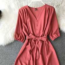 V Neck Summer Midi Long Dress