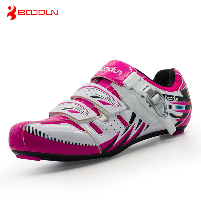 ФОТО Boodun Women Cycling Shoes Professional Road Bike Shoes Self-locking Bicycle Shoes Racing Athletic Cycle Shoes Zapatos de ciclis