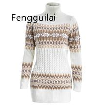 2019 Autumn Winter Sweater Women Long Sleeve Sweater Dress Female Long Patchwork Snowflake Knitwear Turtleneck Pullover недорого