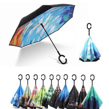 Starry Sky Anti UV Inverted Umbrella Reverse Windproof Folding Double Layer Umbrellas Stand Inside Sunny and Rainy Men and Women(China)