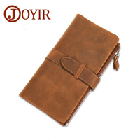 Vintage Crazy Horse Leather Men Wallet Clip Clutch Belt Clasp Clutch Money Holder Zipper Solid Purse