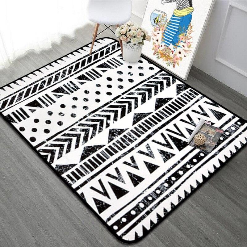 Noir/blanc géométrique salon tapis nordique chambre Rectangle tapis maison Table basse tapis de sol/bébé ramper tapis